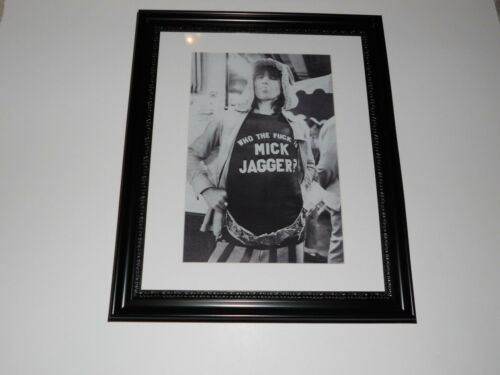 """Large Framed Keith Richards 1972 Rolling Stones Poster Glass 24""""x20"""" F--- Mick"""