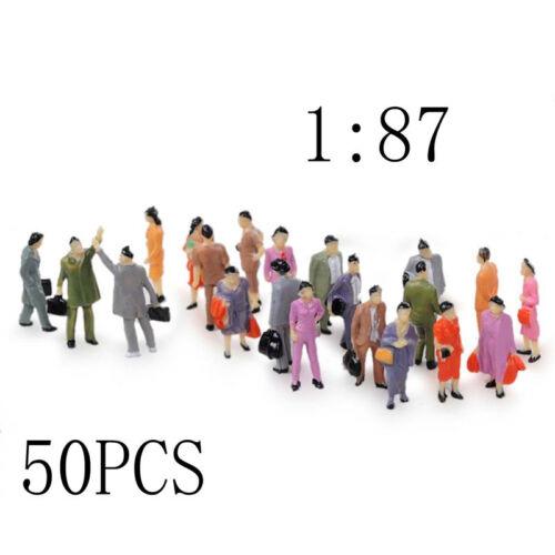 50pcs 1:87 HO Scale Mix Painted Model Train Park Passenger People Figures EA7X