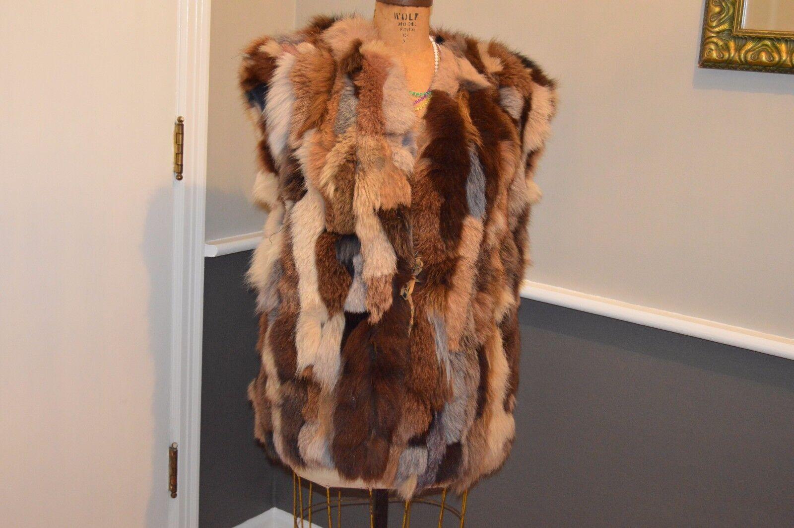 Patchwork multi colord white brown etc fox fur vest xl