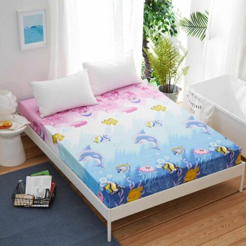 Floral Printed Fitted Sheet Twin Full Queen King  Bed Sheet Cover Cotton Pad US