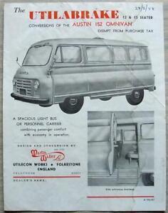 AUSTIN A152 OMNIVAN UTILABRAKE 12 & 13 Seater Sales Specification Leaflet 1957