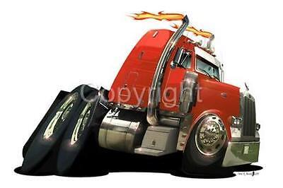 Peterbilt Semi Big Rig Truck Cartoon T-shirt #1030 hauler cab