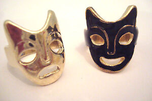 Pair-of-Gold-Tone-amp-Black-Enamel-Theatrical-Mask-Rings-Sizes-L-and-K