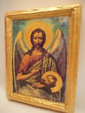 Icon Saint John The Baptist Rare Christian Greek Orthodox Icon on Pine Wood