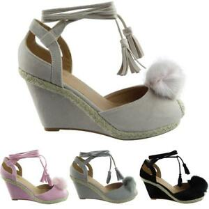 NEW-WOMENS-LADIES-TIE-UP-LACE-POM-POM-FUR-ESPADRILLES-WEDGES-SHOES-SIZE-3-8