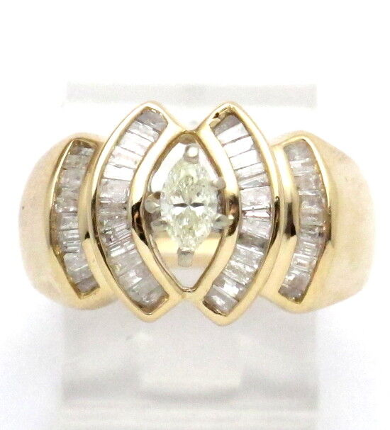 14k Yellow gold Marquise and Baguette Engagement Ring 1.25ct 8.9g