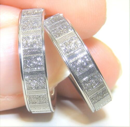 STERLING SILVER 925 LADIES SPARKLING MOON DUST 19mm CREOLE