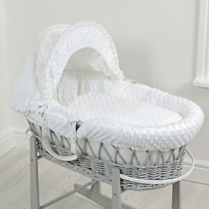 NEW 4BABY WHITE DIMPLE DELUXE PADDED GREY WICKER MOSES BASKET