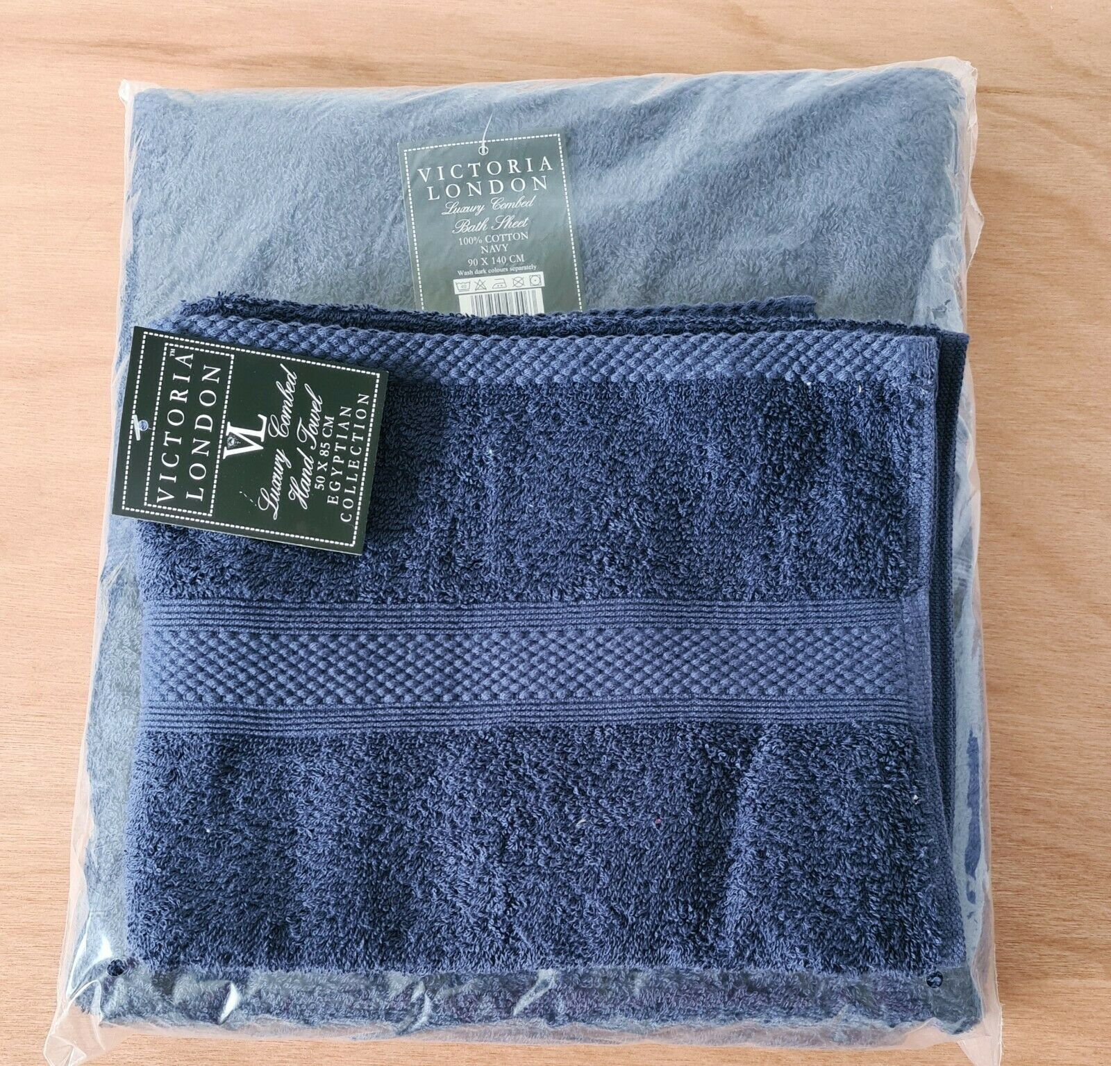 2 x Victoria London Hand Towel and Large Bath Sheet Cloth 100% Cotton Navy