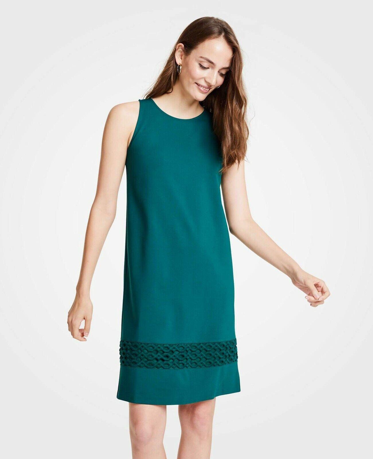 NWT Ann Taylor Petite Lace Hem Tank Dress in Rich Cypress Größe 0P