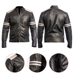 Racer Biker Vintage Cafe Zwart Fit Motorcycle leren Slim Herenlederen jas nw80PXOk