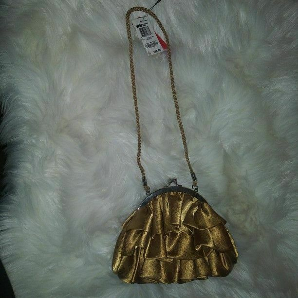 Style& Co Gold Ruffle Evening Bag With Clasp Closure