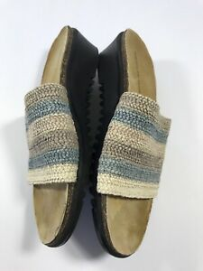 f8853bc5d620 Montego Bay Club Womens Size 10 Beige Blue Weave Slip on Shoes ...