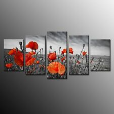 Poppy Flower On Canvas Print Painting Pictures Wall Art Home Decor No Frame 5pcs