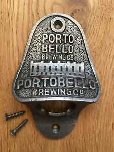 Vintage style cast iron Portobello Brewing Co. bottle opener wall mounted