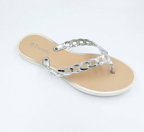 Ladies Silver Chain Flip Flop Sandal UK Sizes 3 /& 4