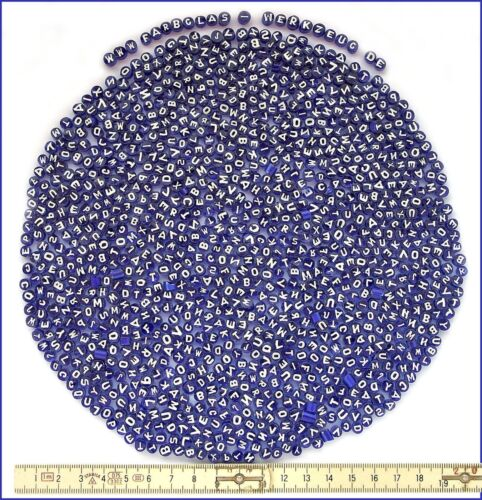 GEMISCHTE BUCHSTABEN Millefiori-Mix 250gr 5//6mm, Weiß auf Blau 16,00€//100g