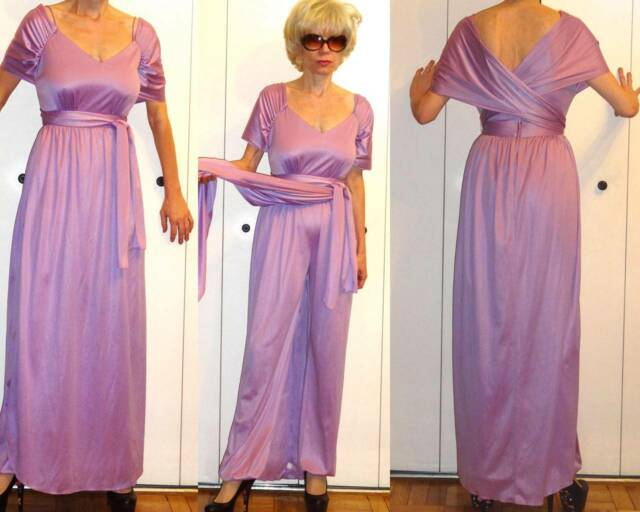 GODDESS MAUVE LILAC DRAPED GRECIAN HAREM DRESS JUMPSUIT V NECKLINE LONG SKIRT XS