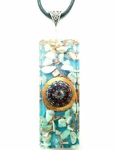 necklace-Orgone-Orgonite-pendant-Mandala-necklace-Amazonite-quartz-Protection