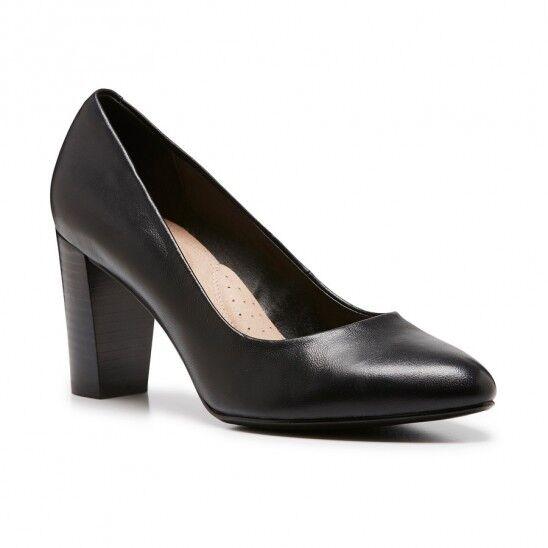 Damenschuhe HUSH PUPPIES HALLIE BLACK LEATHER HIGH HEEL DRESS WORK Schuhe  149.95