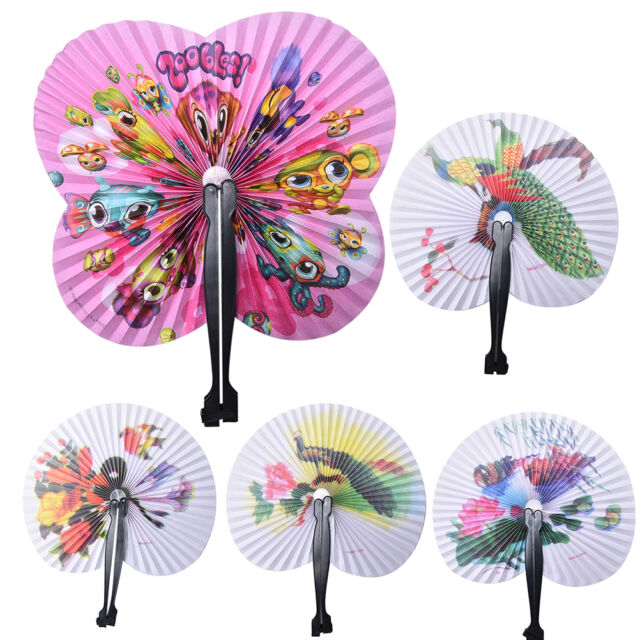 2 Pcs Paper Chinese Oriental Folding Hand Held Fans.Ideal Size For Handbags_TI