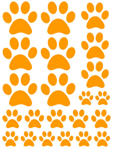 ORANGE PAW PRINTS VINYL WALL DECAL STICKER-3 sheets total of 66 pieces DOG CAT