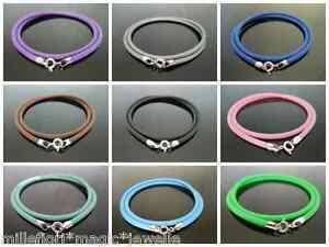 3mm-Goma-Silicona-cordon-amp-Plata-de-ley-925-Collar-55-9cm-56cm-color-a-elegir