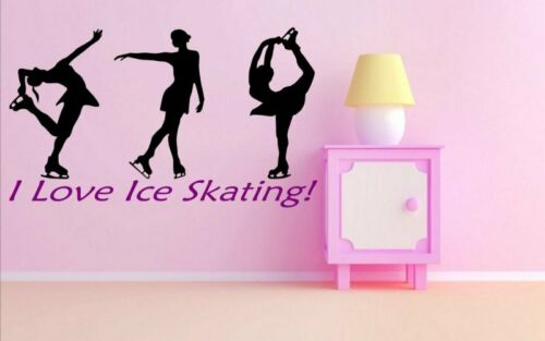 New Girls // Kids Room Large Wall Stickers Many colours /'I love ice skating/'