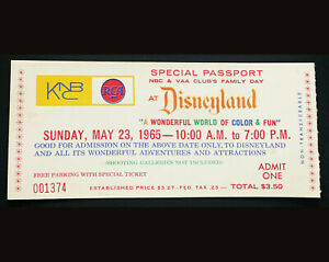 Disneyland-Authentic-Vintage-NBC-Private-Party-Admission-Rides-Ticket-Stub-1965