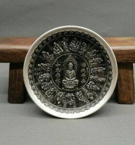 Collect noble Decor tibet silver copper carve 18 arhats monk buddha statue plate