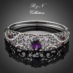Platinum-Plated-Made-W-Swarovski-Element-Crystal-Bangle-Bracelet-B560-30