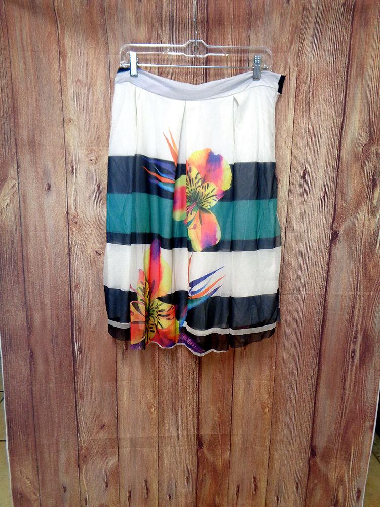 Chiffon White Skirt with Floral Print size 1X (runs lar