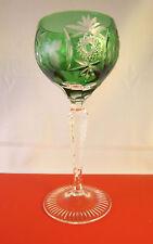 Nachtmann Crystal Cut to Clear Hock Wine Glass Traube Emerald Green Germany