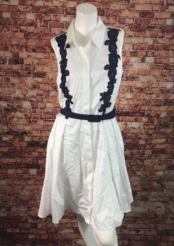 Belle Badgley Mischka Ivory bluee Embroidered Shirt Dress Size 12