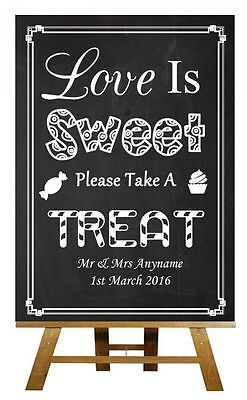 Chalkboard Love Is Sweet Candy Bar Cart Buffet Personalised Wedding Sign