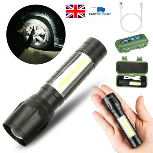 LED Torch USB Rechargeable Flashlight Police Tactical Zoom Outdoor Camping Lamp