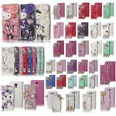 3D Bling Crystal  Diamond Luxury Handmade Leather Case Cover For Samsung Galaxy