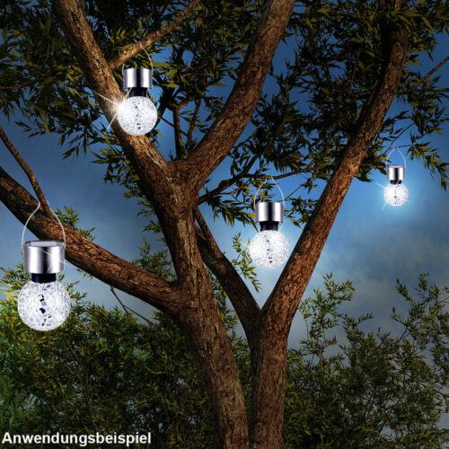 6x LED Solar Lampen Balkon Hänge Strahler Leuchten Spiegel Scherben Beleuchtung