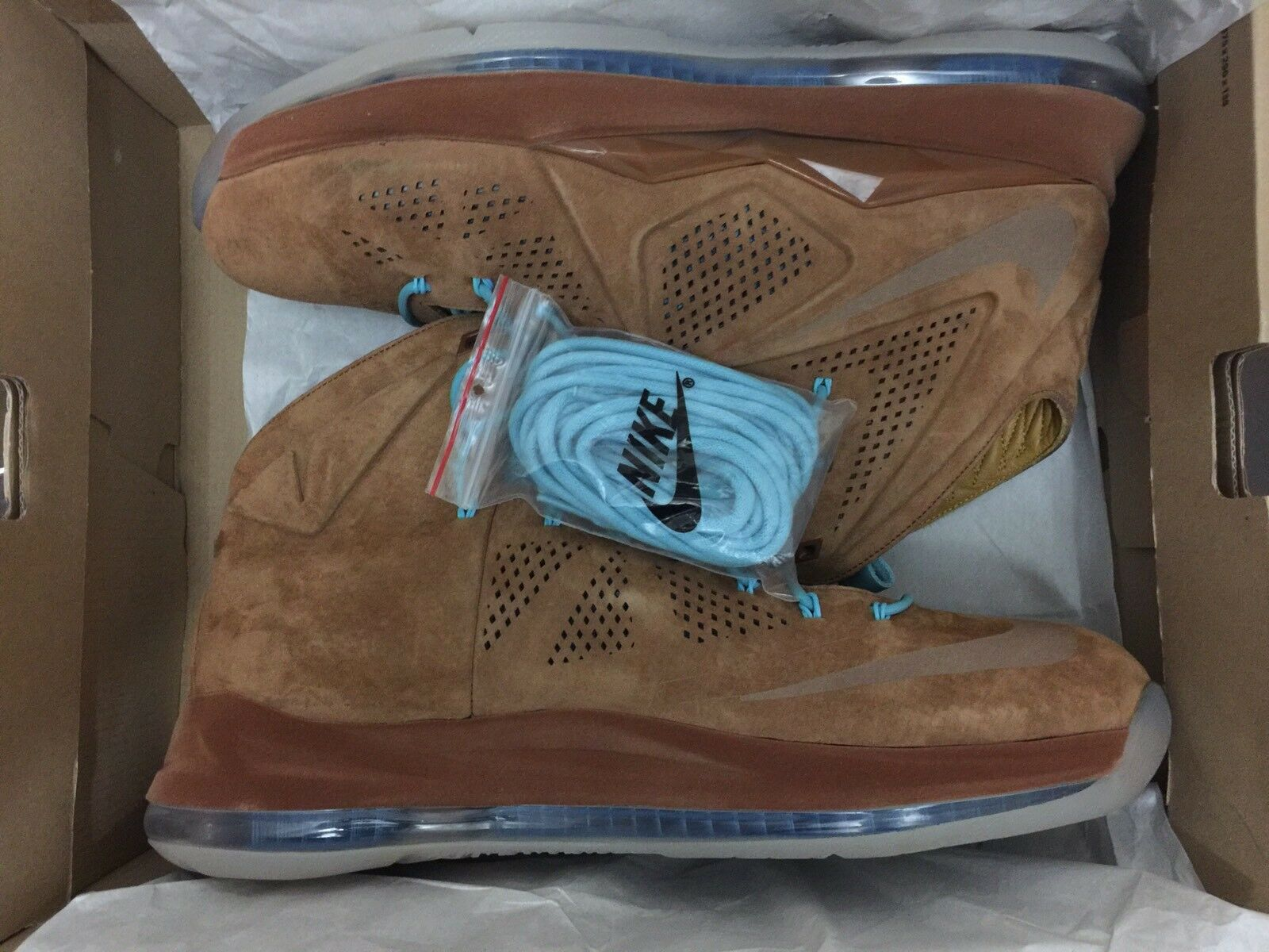 Nike LeBron X 10 Hazelnut EXT Brown Suede 607078-200 15 Zoom Cork Denim sz 14