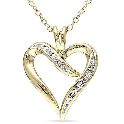Sterling Silver Diamond Heart Pendant Necklace by Miadora