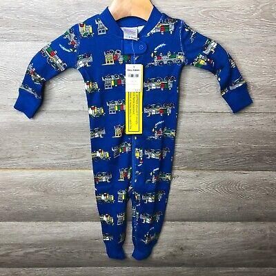 Hanna Andersson Boy Size 6-12 Months Blue Train Organic Cotton Night Sleeper NWT