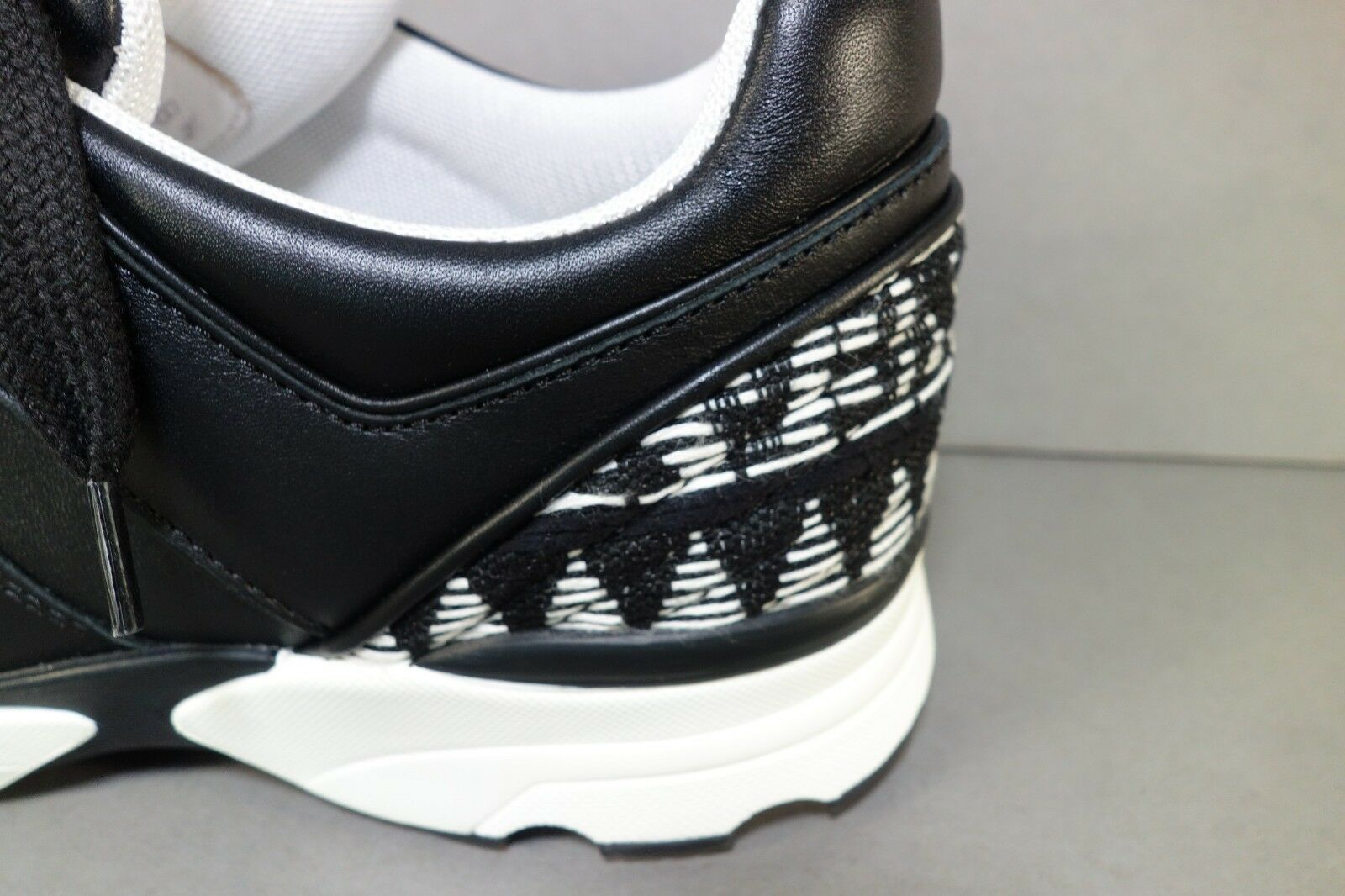 Buy CHANEL 36 5.5 Black White Tweed Leather Lace up SNEAKERS Tennis Shoes  Sport online  2a9f514a4b3