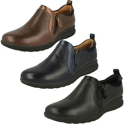 Generous Femmes Clarks Un Décoré Zippé Noir,marine Ou Brun Chaussures Cuir Décontracté Clothing, Shoes & Accessories