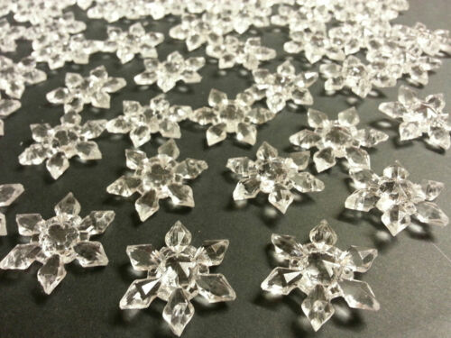 100Pcs Clear Sew On Acrylic Crystal Snowflakes Sewing Wedding Table Decoration