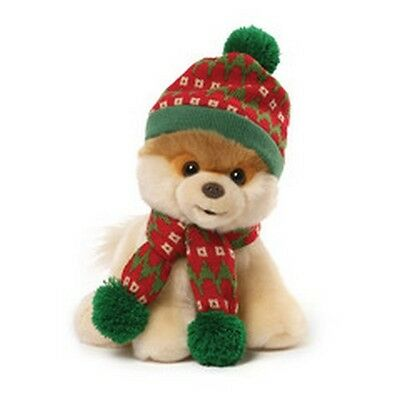 """RETIRED GUND - DOG - 9""""  CHRISTMAS BOO -  HOLIDAY KNIT HAT AND SCARF - NWT"""