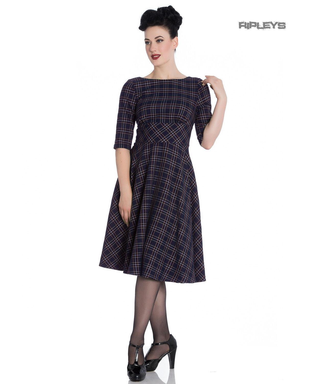 Hell Bunny 40s 50s Pin Up Wartime Wartime Wartime Dress Peebles NAVY Blau Tartan All Größes | Attraktives Aussehen  | eine breite Palette von Produkten  | Genial Und Praktisch  952636
