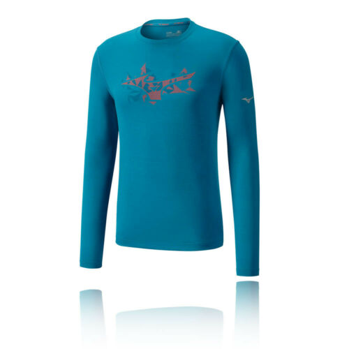 Mizuno Mens Impulse Core Graphic Long Sleeve Running Top Blue Sports Breathable