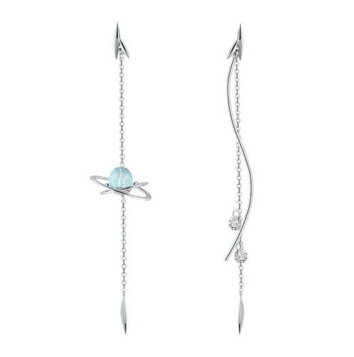 Details about  /Sterling Silver Raindrop Dangle Drop Crystal Asymmetrical Earrings Fine Jewelry