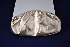 DKNY-Donna-Karan-Gold-Cosmetic-Makeup-Travel-Bag-Clutch-Pouch-Zippered