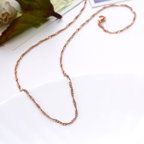 Classic 18K Rose Gold Filled 1.5mm Singapore Twisted Chain Necklace